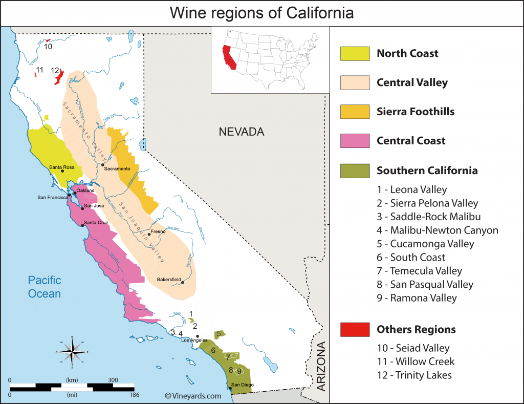 California Map Of Vineyards Wine Regions - Central California Wine Country Map