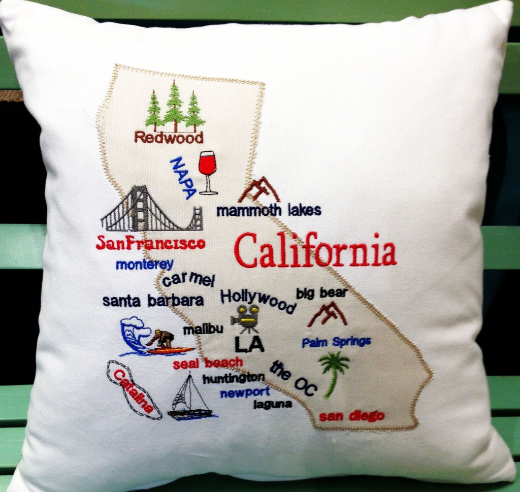California Map Pillow California Gifts California Souvenir | Etsy - California Map Pillow