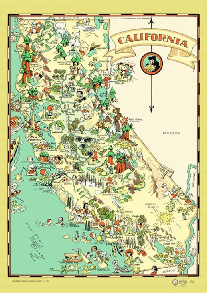 California Map Poster Vintage 1933 San Francisco Los Angeles   Etsy - California Map Poster