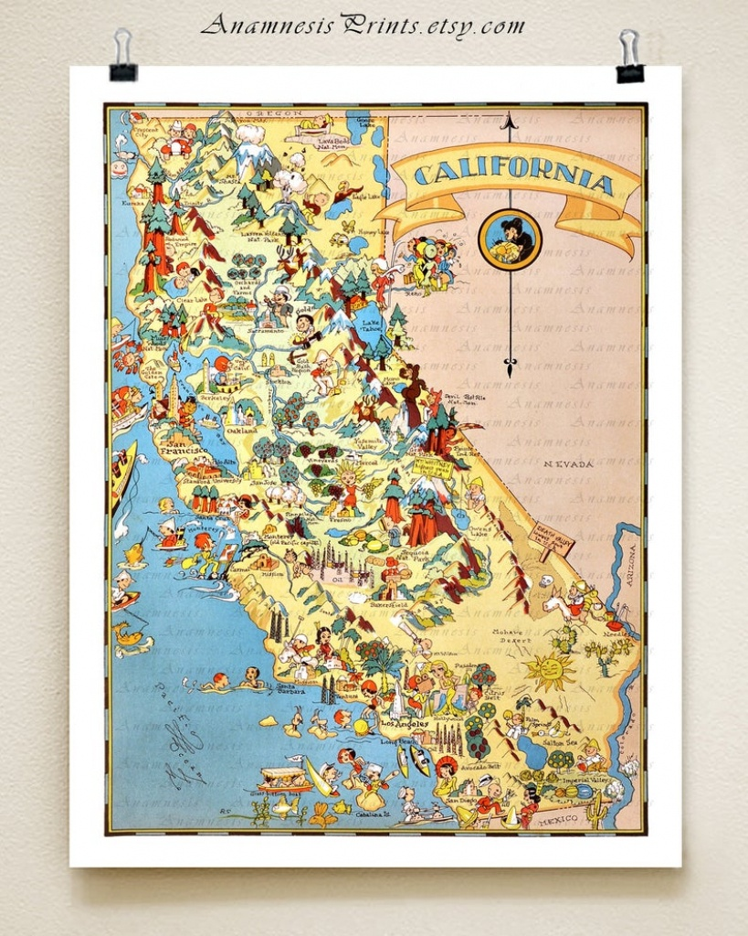 California Map Print Picture Map Illustrated Map Map | Etsy - Illustrated Map Of California