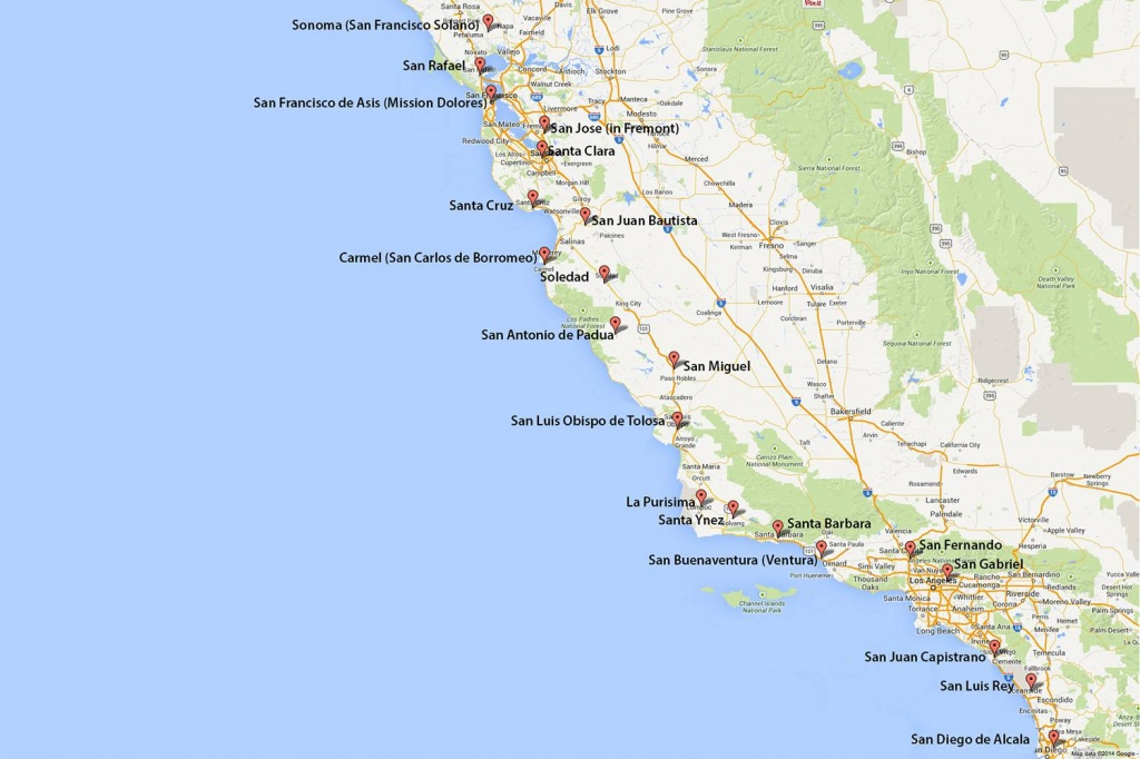 California Missions Map: Where To Find Them - Map Of Mid California