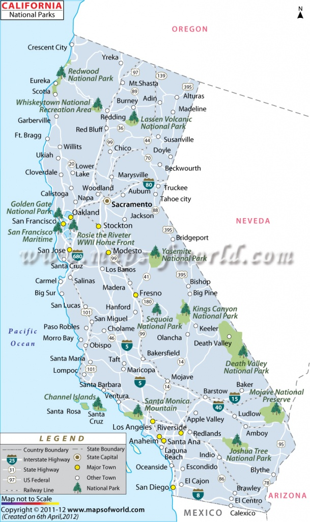 California National Parks Map, List Of National Parks In California - Map Of California National Parks And Monuments
