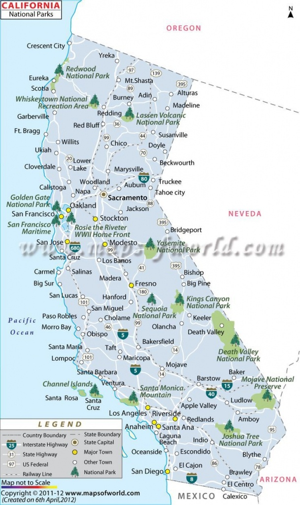 California National Parks Map   Travel In 2019   California National - National Parks In Northern California Map
