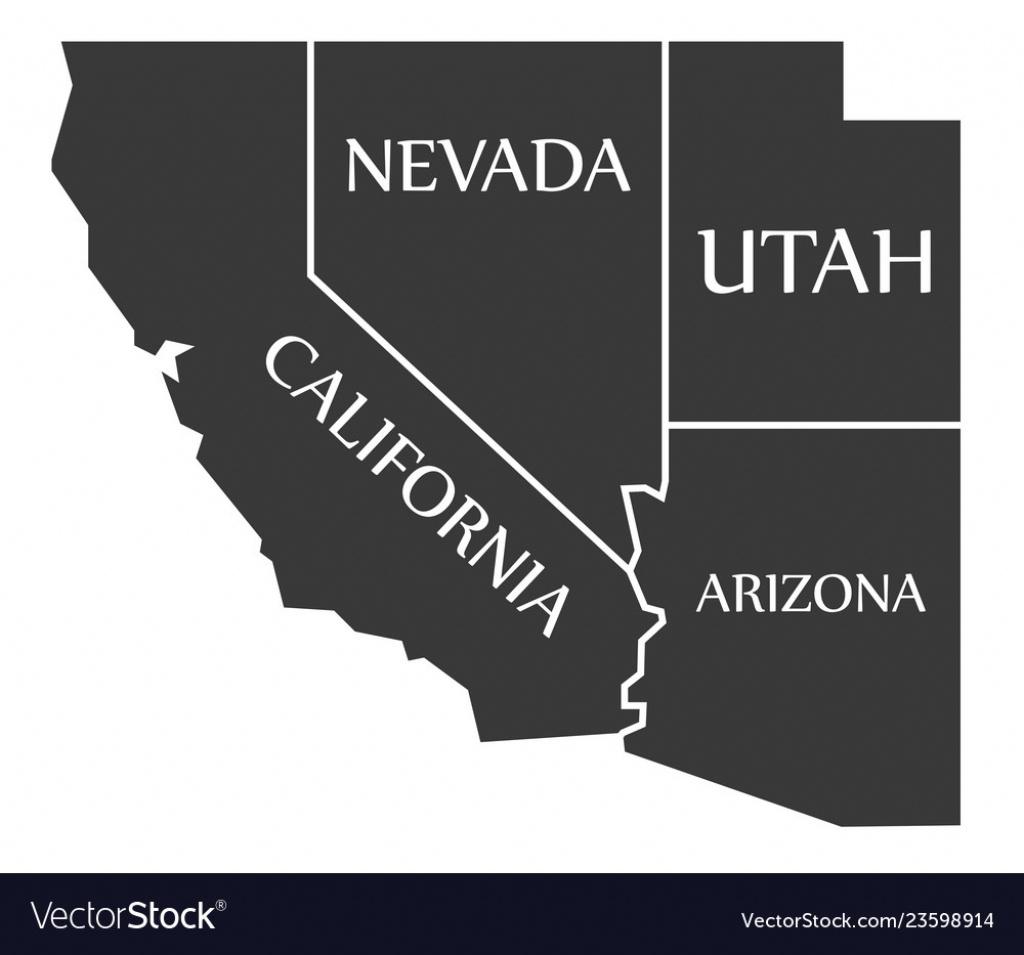California - Nevada - Utah - Arizona Map Labelled Vector Image - California Nevada Arizona Map