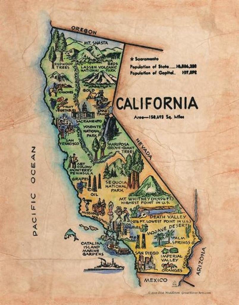 California Old California Map Kid's Retro Map | Etsy - California Map Old