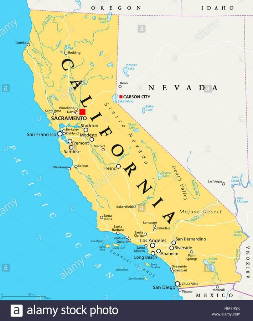 California Political Map With Capital Sacramento, Important Cities - Sacramento California Map