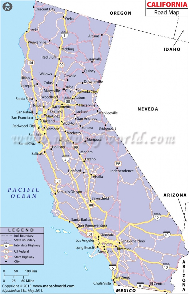 California Road Map, California Highway Map - Printable Road Map Of California