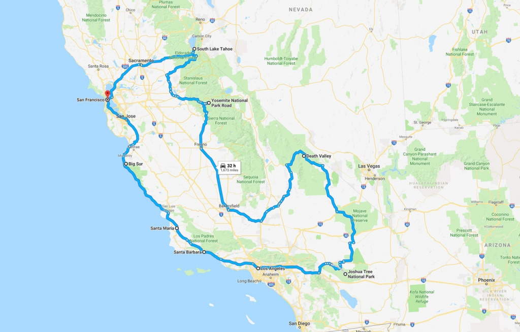 California Road Trip - The Perfect Two Week Itinerary | The Planet D - Road Trip California Map