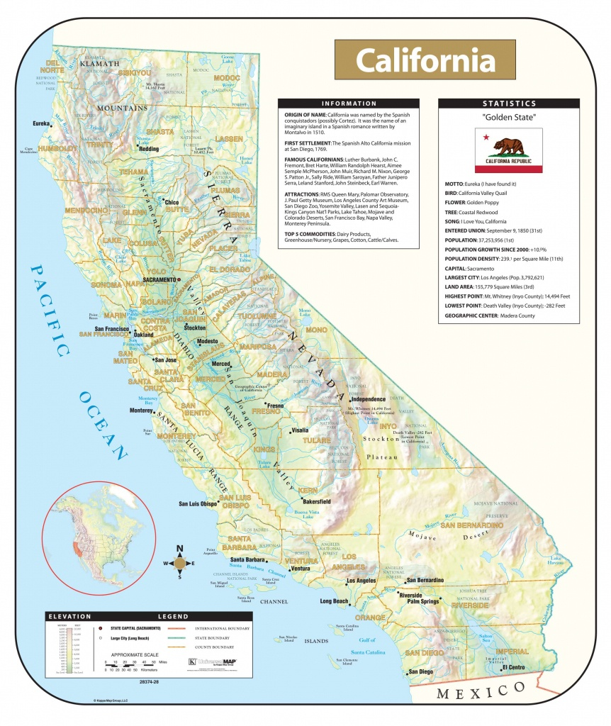California Shaded Relief Map – Kappa Map Group - California Relief Map
