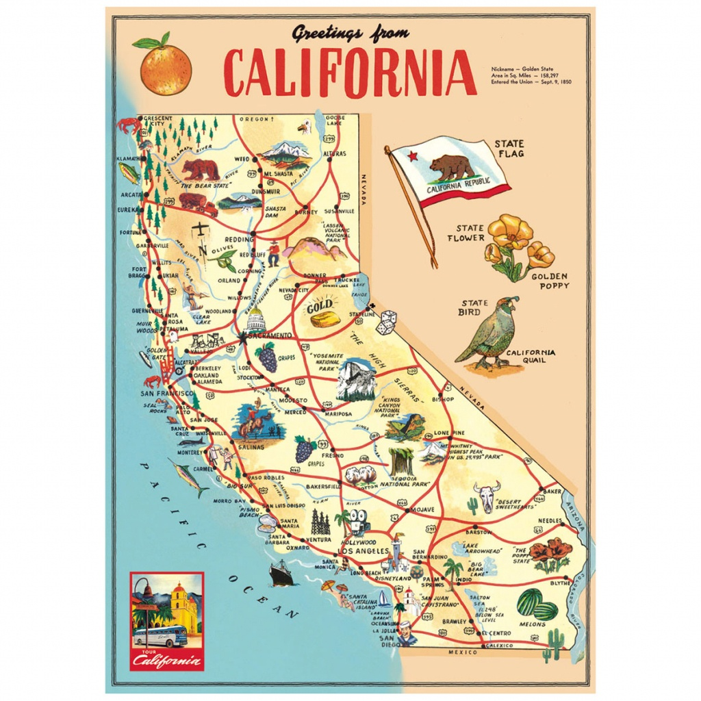 California Sightseeing Map Vintage Style Poster_D At Retro Planet - California Sightseeing Map