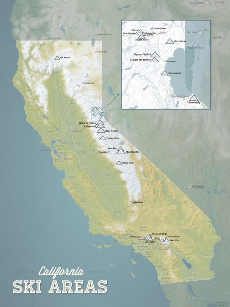 California Ski Resorts Map 18X24 Poster | Etsy - California Ski Resorts Map
