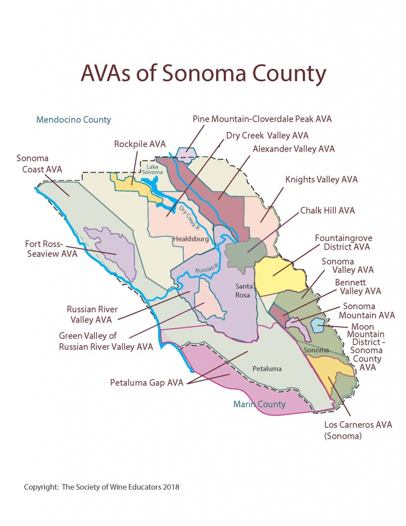California—Sonoma County: Swe Map 2018 – Wine, Wit, And Wisdom - Sonoma Valley California Map