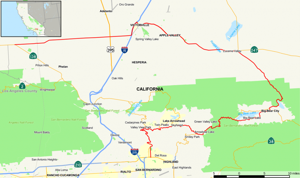 California State Route 18 - Wikipedia - Twin Peaks California Map