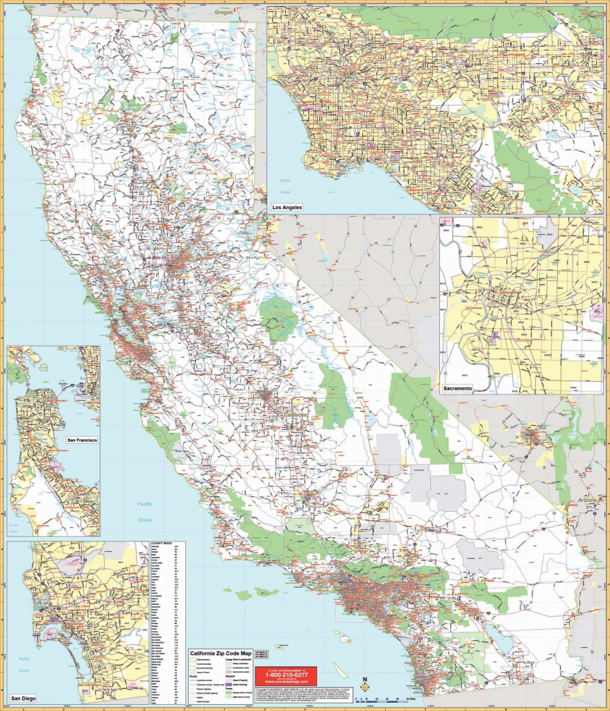 California State Wall Map W/ Zip Codes - The Map Shop - Laminated California Map