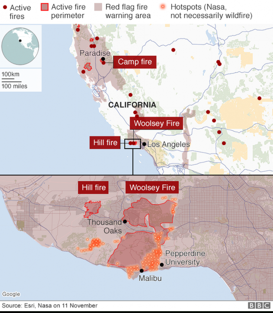 California Wildfires: Death Toll Rises To 25 - Bbc News - California Fire Heat Map