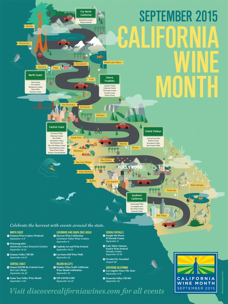 California Wine Poster For The Wine Institute Annual Wine Month - California Wine Map Poster