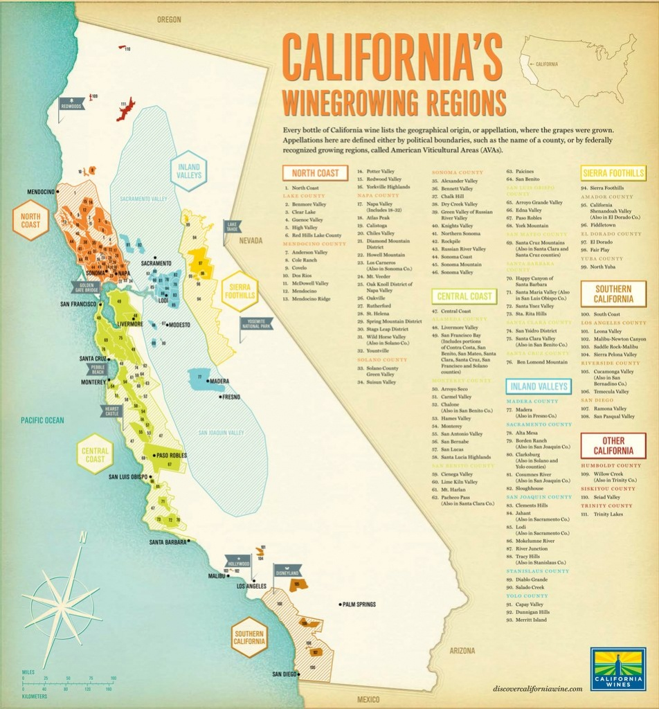 California Wine Regions - Maplets - California Wine Ava Map