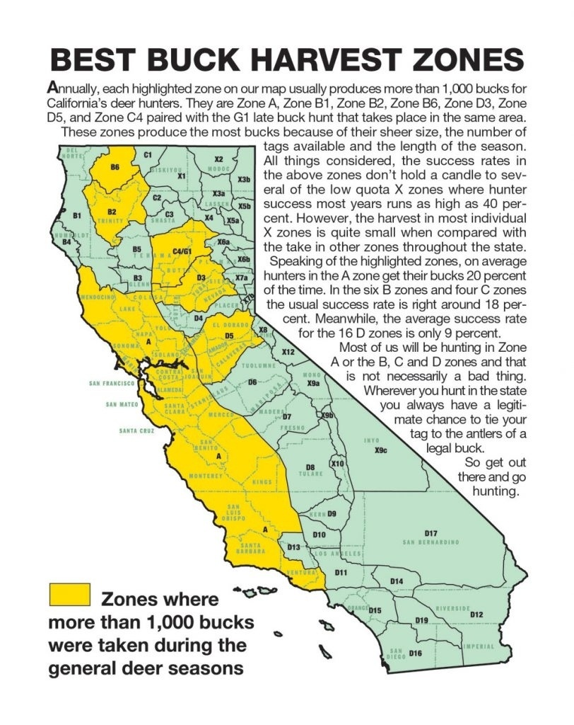 California Zone Map For Deer Hunting – Map Of Usa District - Map Of Hunting Zones In California