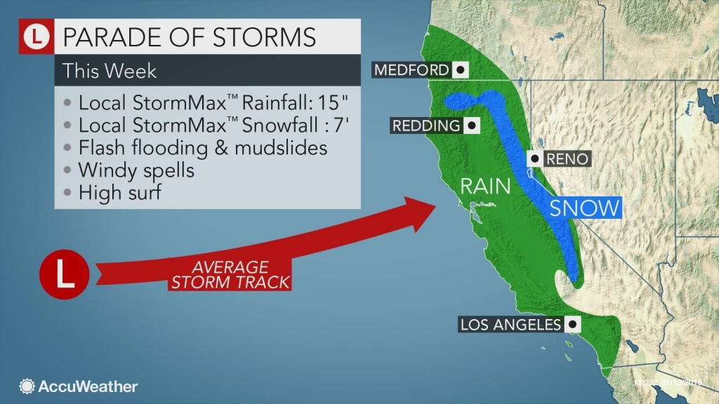 Californians To Face Relentless Wet, Snowy Weather Through The Week - California Snow Map