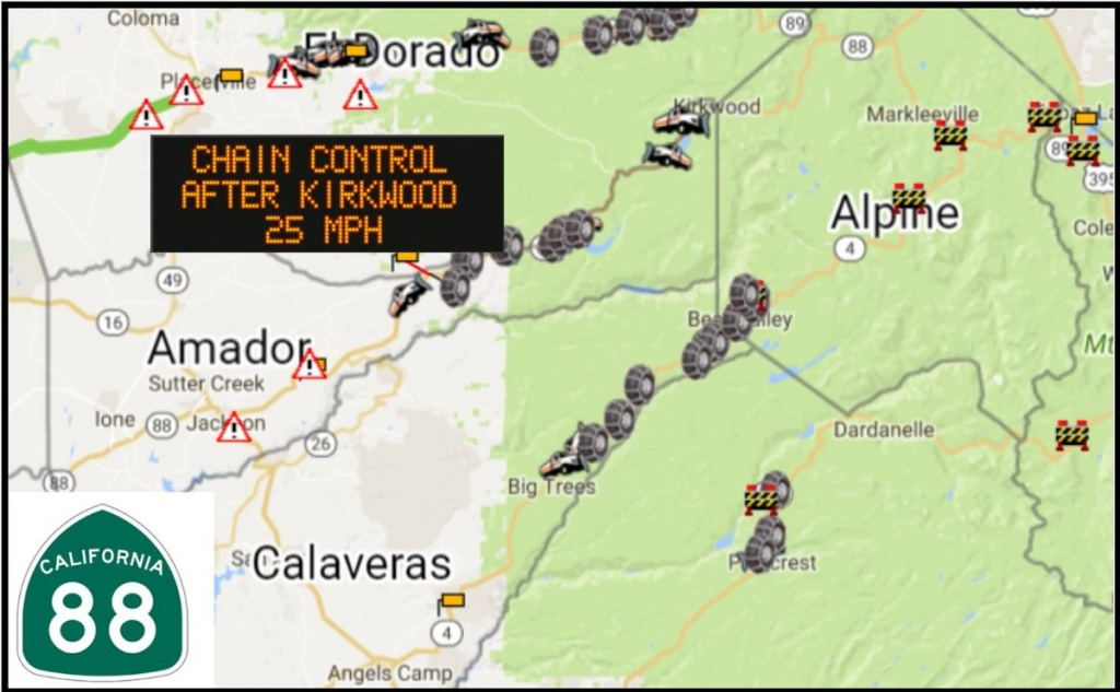 "Caltrans District 10 On Twitter: ""sr-88 Carson Pass Chains Required - California Chain Control Map"