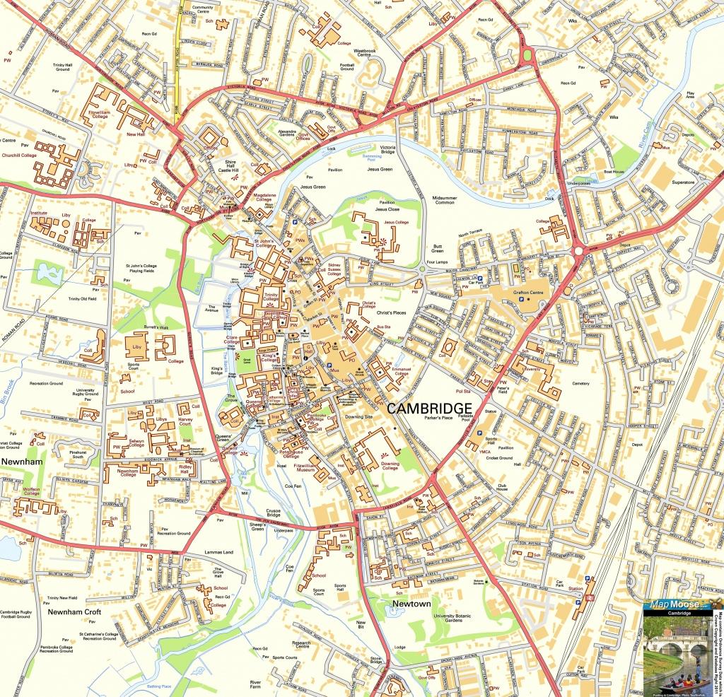 Cambridge Offline Street Map, Including Cambridge University, River - Printable Map Of Cambridge Ma