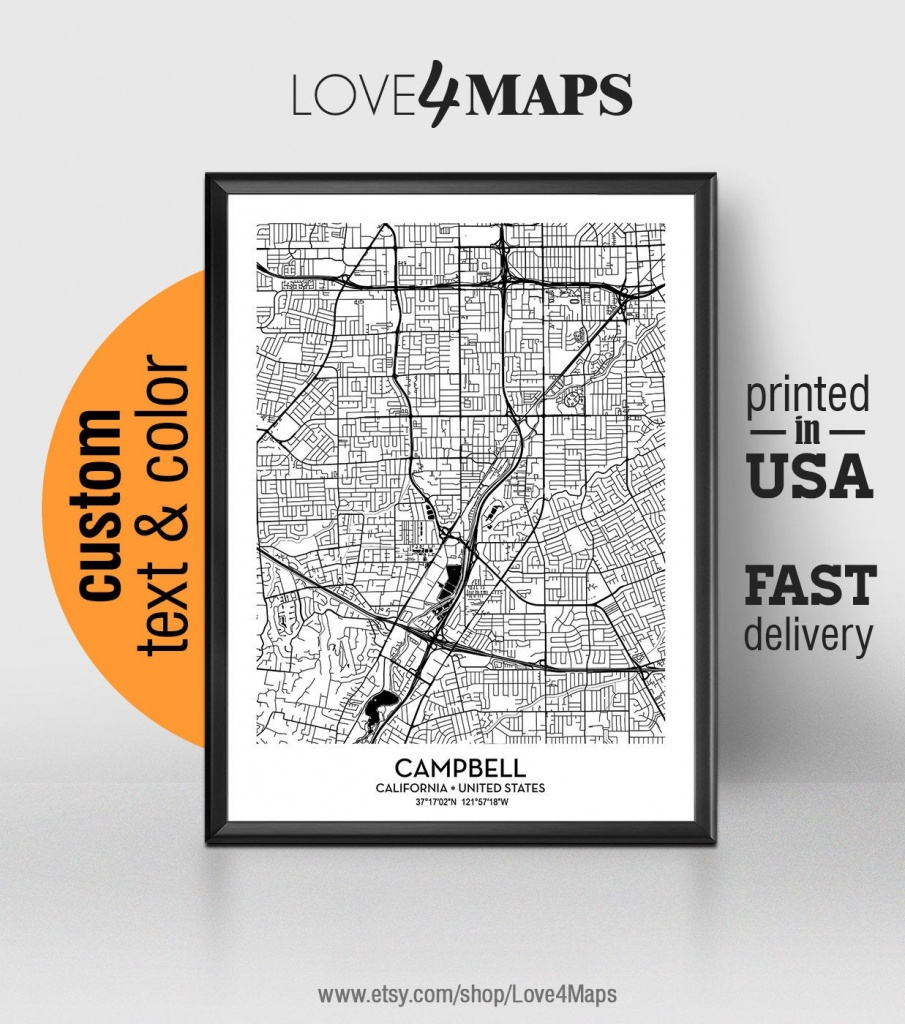Campbell California Map Campbell City Print Campbell Poster | Etsy - Campbell California Map
