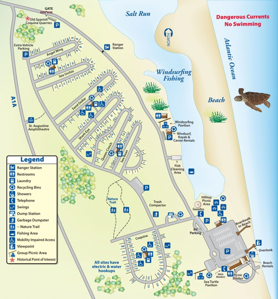 Campground Map Anastasia State Park | Florida In 2019 | Florida - Map Of Rv Parks In Florida
