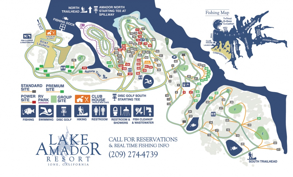 Campground Map – Fishing & Camping In Northern Ca | Lake Amador - California Camping Map