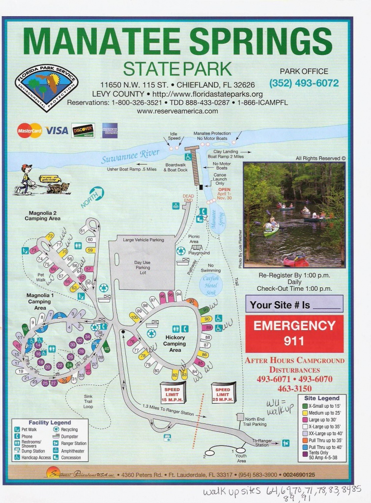 Campground Map - Manatee Springs State Park - Chiefland - Florida - Florida State Park Campgrounds Map