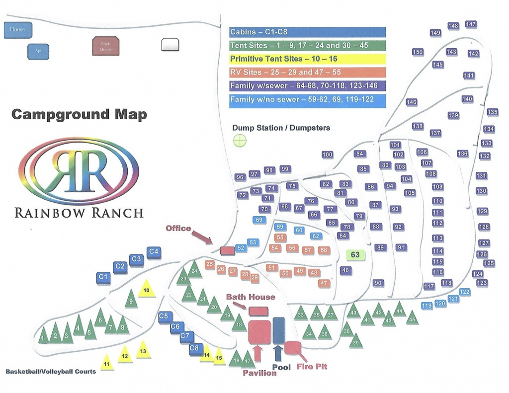 Campground Map | Rainbow Ranch - Texas Campgrounds Map