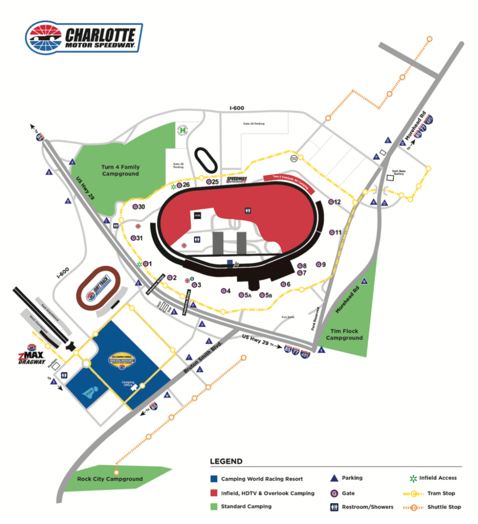 Camping | Events | Charlotte Motor Speedway - Texas Motor Speedway Parking Map
