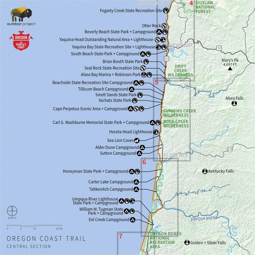 Camping Oregon Coast Map   Secretmuseum - Camping Central California Coast Map