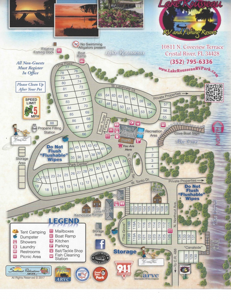 Campsite Map - Lake Rousseau Rv Resort - Florida Tent Camping Map