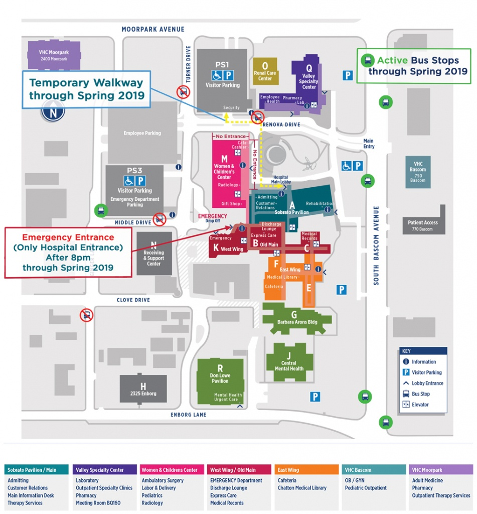 Campus Map Directory | Santa Clara Valley Medical Center - Kaiser Permanente Locations In California Map