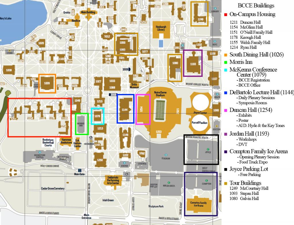 Campus Map - Notre Dame Campus Map Printable