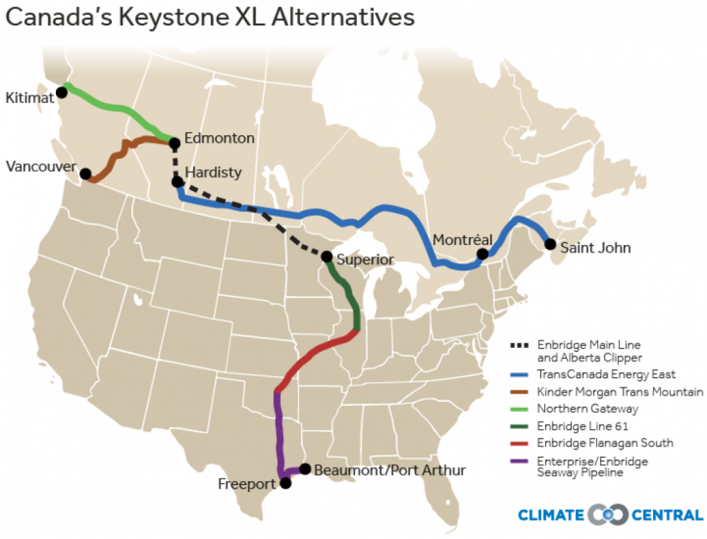 Canada Pushes Ahead With Alternatives To Keystone Xl   Climate Central - Keystone Pipeline Map Texas