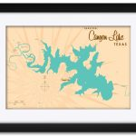 Canyon Lake Texas Map Framed Art Printlakebound . Print Size: 18   Texas Map Framed Art