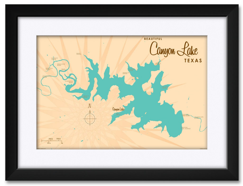 Canyon Lake Texas Map Framed Art Printlakebound . Print Size: 18 - Texas Map Framed Art