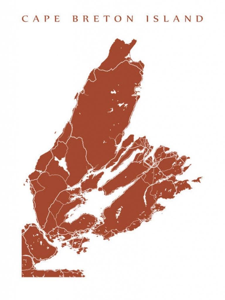 Cape Breton Island Nova Scotia Map Print | Etsy - Printable Map Of Cape Breton Island