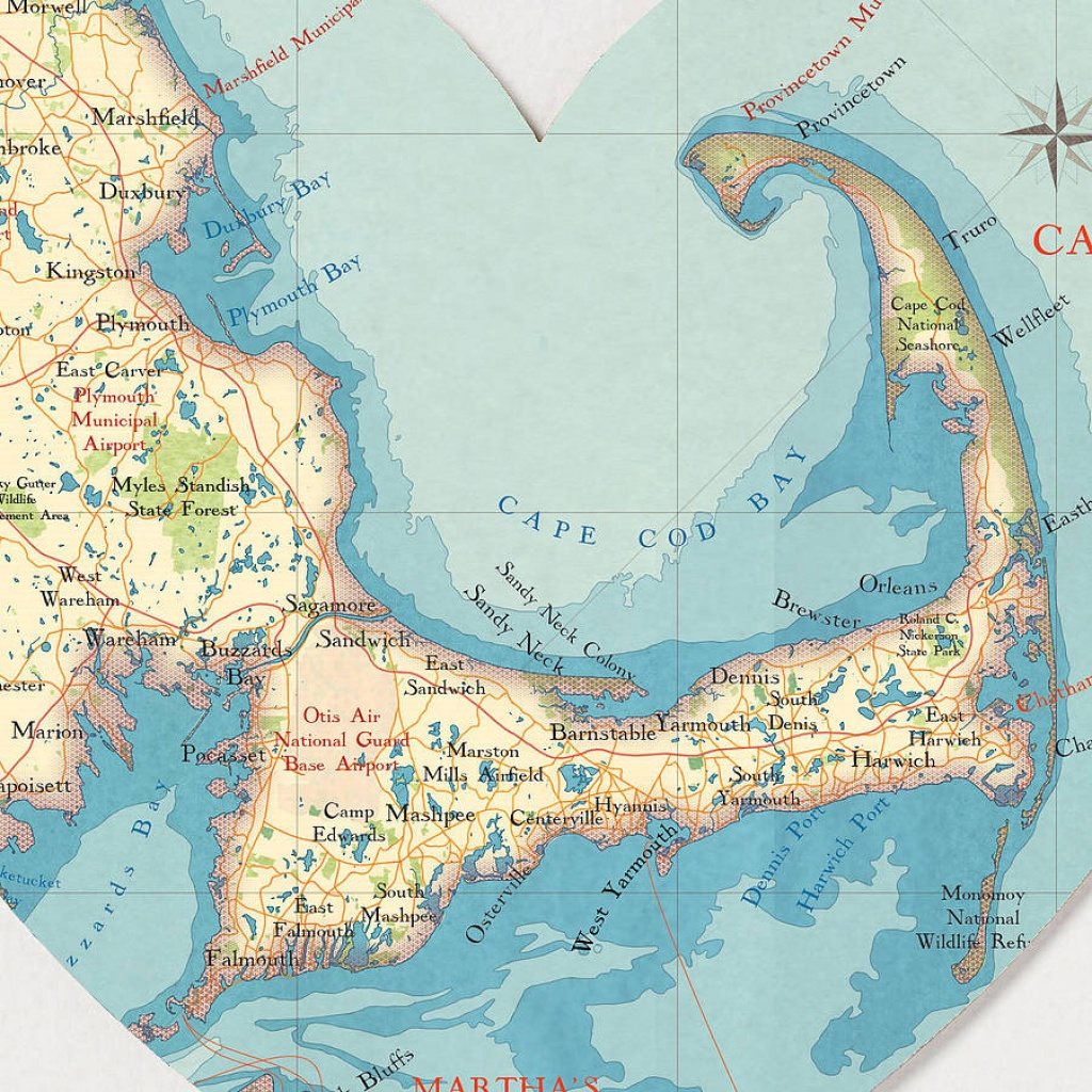 Cape Cod Map Heart Printbombus Off The Peg | Notonthehighstreet - Printable Map Of Cape Cod