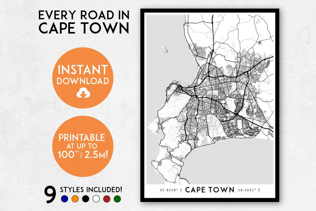 Cape Town Map Print, Printable Cape Town Map Art, South Africa Map, Cape  Town Print, Cape Town Art, Cape Town Poster, Cape Town Wall Art - Printable Town Maps
