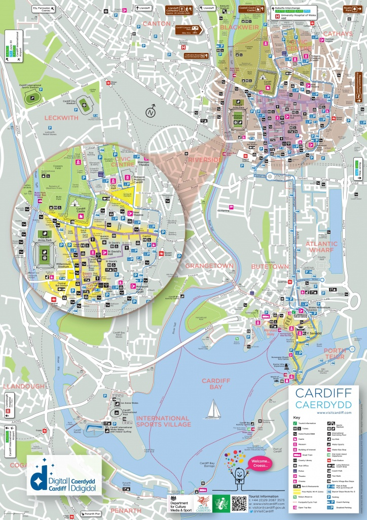 Cardiff Tourist Map - Printable Map Of Cardiff