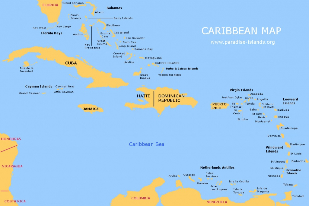 Caribbean Map   Free Map Of The Caribbean Islands - Maps Of Caribbean Islands Printable