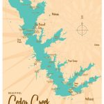 Cedar Creek Lake Tx Map Art Print | Etsy   Cedar Creek Texas Map