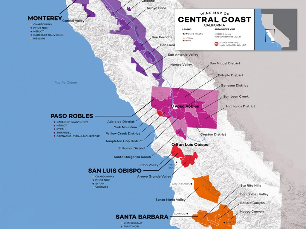 Central Coast Wine: The Varieties And Regions | Wine Folly - California Wine Map