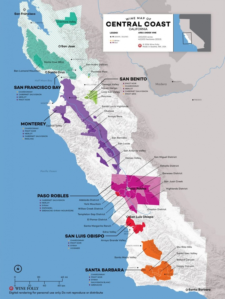 Central Coast Wine: The Varieties And Regions | Wine Maps - Map Of California Showing Santa Barbara