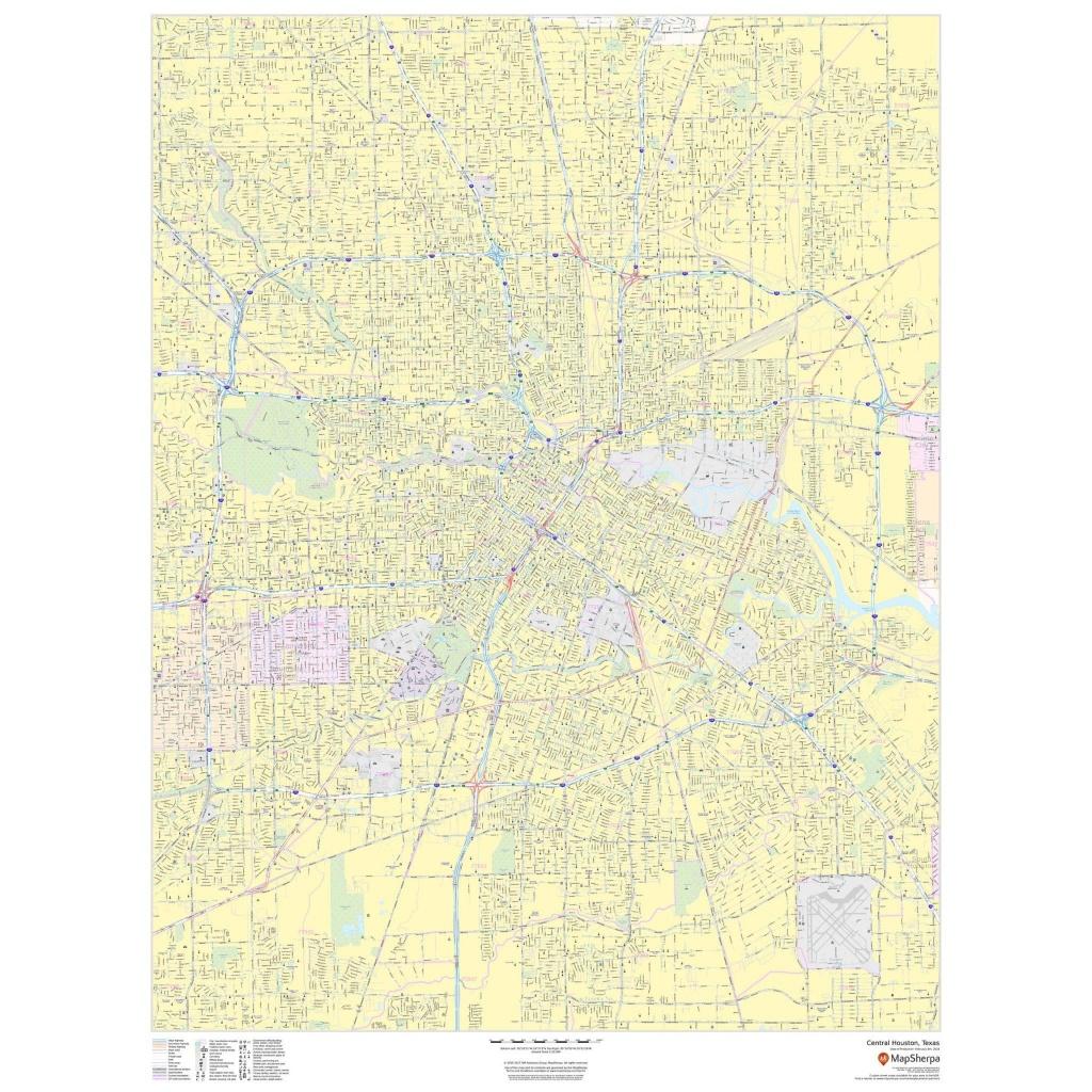 Central Houston, Texas - Portrait - The Map Shop - Houston Texas Map