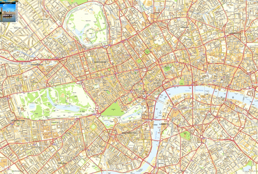 Central London Offline Sreet Map, Including Westminter, The City - London Street Map Printable