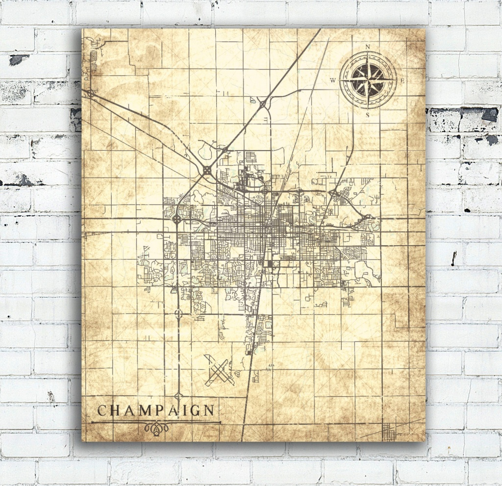 Champaign Il Canvas Print Illinois Il Champaign City Town Vintage - Printable Map Of Champaign Il