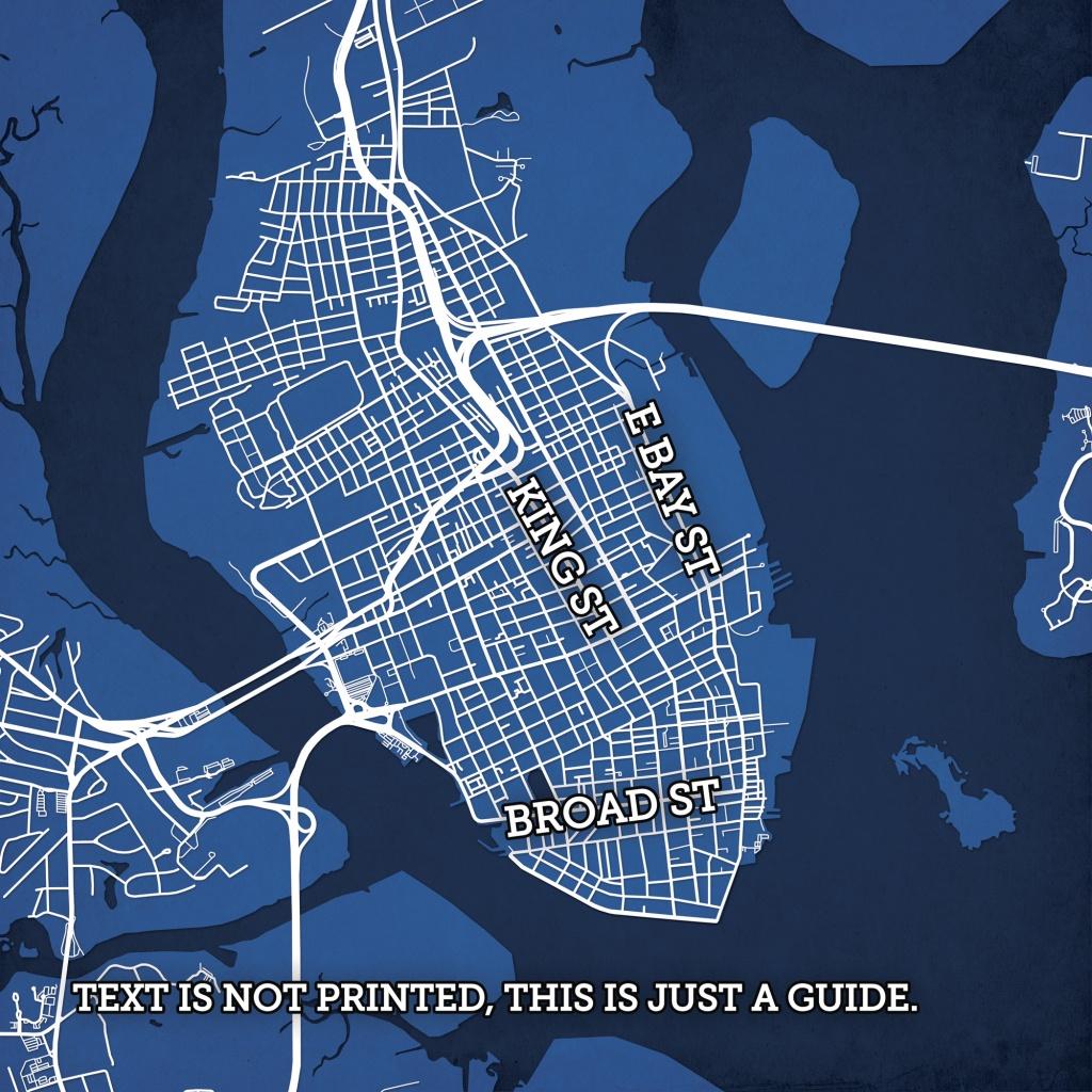 Charleston, South Carolina Map Art - City Prints - Printable Map Of Charleston Sc